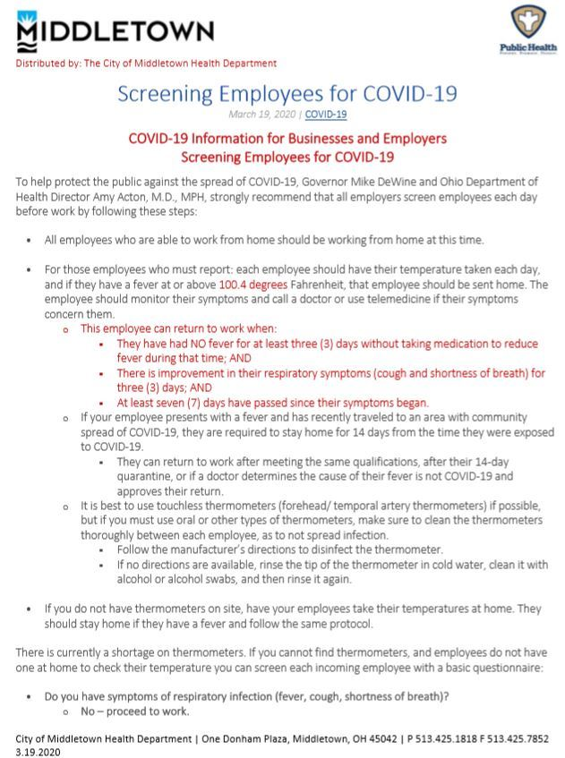 SCREENING EMPLOYEES FOR COVID-19 PG 1
