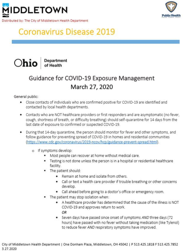 CMHD-ODH COVID-19 EXPOSURE GUIDANCE 3.27.2020