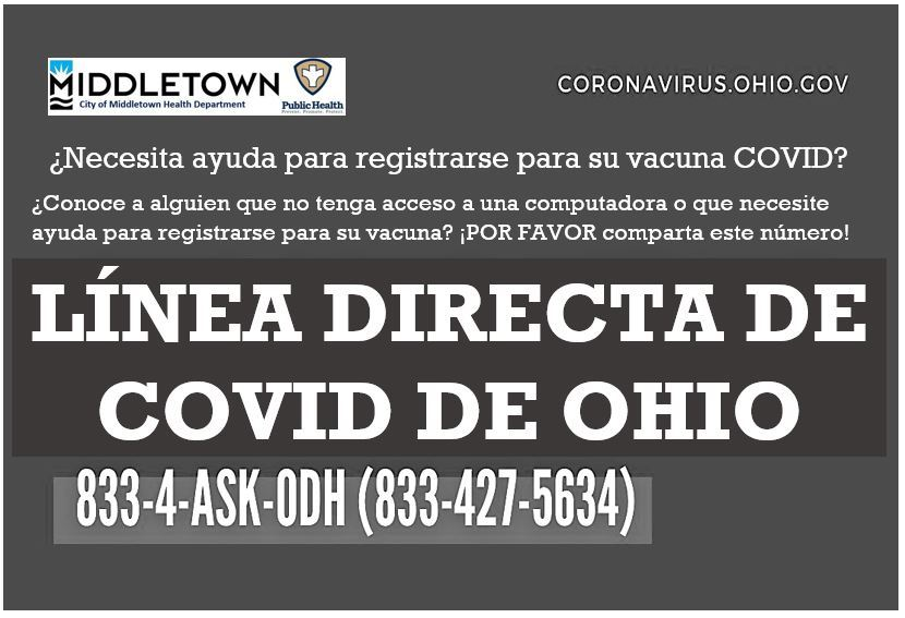 HELP REGISTERING FOR YOUR COVID SHOT SPANISH IMAGE 1.833.427.5634